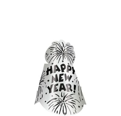 Foil Silver New Year's Cone Hat