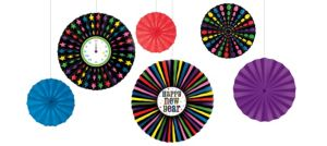 Colorful New Year's Paper Fan Decorations 6ct