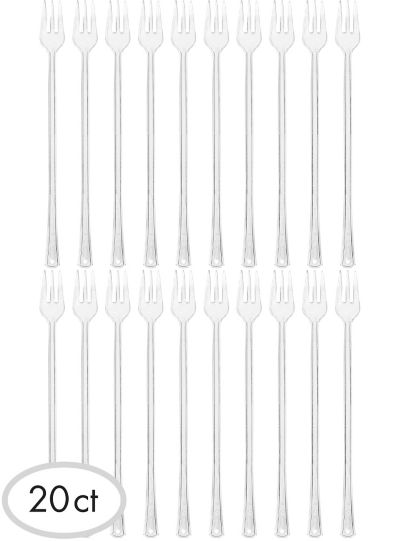 Mini CLEAR Plastic Forks 20ct