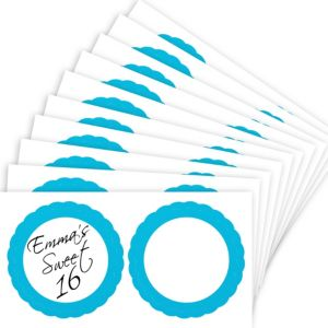 Caribbean Blue Favor Sticker Labels 20ct