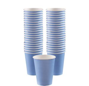 BOGO Pastel Blue Paper Coffee Cups 12oz 40ct