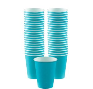 BOGO Caribbean Blue Paper Coffee Cups 12oz 40ct
