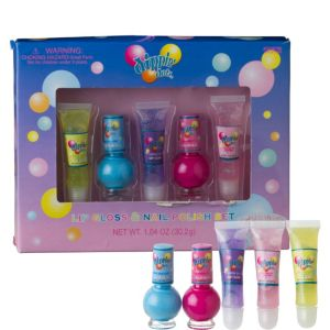 Dippin' Dots Lip Gloss & Nail Polish Set 5pc