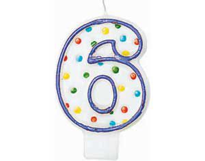 Purple Outline Number 6 Birthday Candle