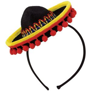 Mini Sombrero Headband with Ball Fringe