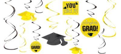 Yellow Graduation Swirl Decorations 12ct