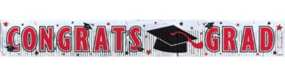 Red Foil Fringe Graduation Banner