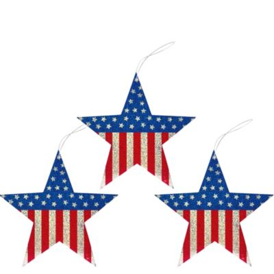Patriotic Star Decorations 3ct