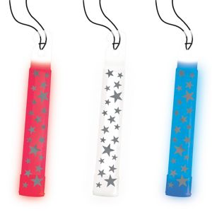 Patriotic Red, White & Blue Star Glow Stick Necklaces 3ct