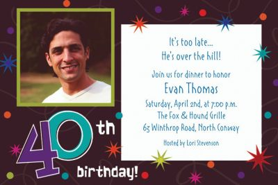 The Party Continues 40th Birthday Custom Photo Invitation