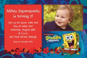 Custom Sponge Bob Simply Photo Invitations