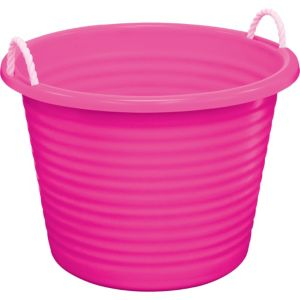 pink plastic tub with rope handles 22in x 16in party city. Black Bedroom Furniture Sets. Home Design Ideas