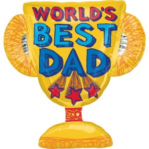 Foil World's Best Dad Trophy Balloon 35in