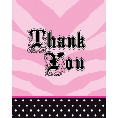 Super Stylish Sweet 16 Thank You Cards 8ct