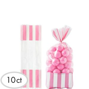 Light Pink Striped Treat Bags 10ct