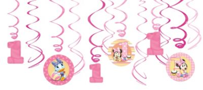 1st Birthday Minnie Mouse Swirl Decorations 12ct