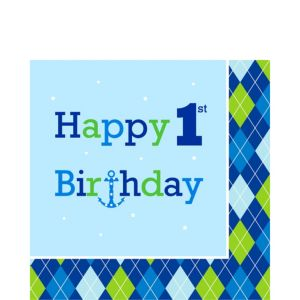 1st Birthday Ocean Preppy Lunch Napkins 16ct
