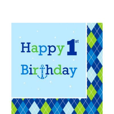 1st Birthday Ocean Preppy Lunch Napkins 16ct