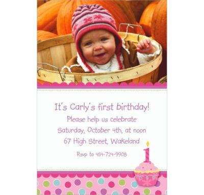 Custom Sweet Little Cupcake Girl Photo Invitations