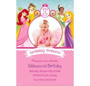 Custom Disney Princess 1st Birthday Photo Invitations