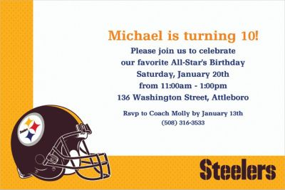 Custom Pittsburgh Steelers Invitations