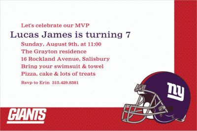 New York Giants Custom Invitation