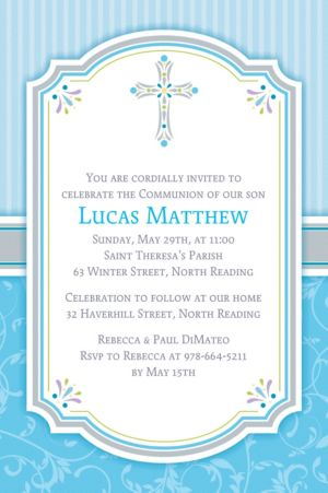 Custom Blue Communion Blessings Invitations