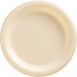 Vanilla Cream Plastic Dinner Plates 20ct