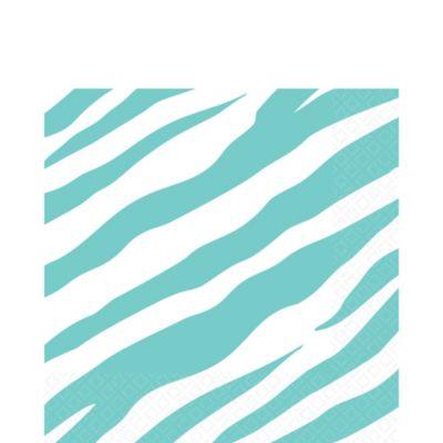 Robin's Egg Blue Zebra Print Lunch Napkins 16ct