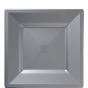 Silver Plastic Square Lunch Plates 10ct
