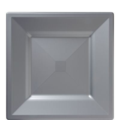 Silver Premium Plastic Square Lunch Plates 10ct