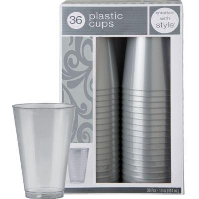 Silver Premium Plastic Tumblers 36ct
