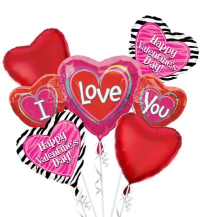 Foil I Love You Valentines Day Balloon Bouquet 5pc