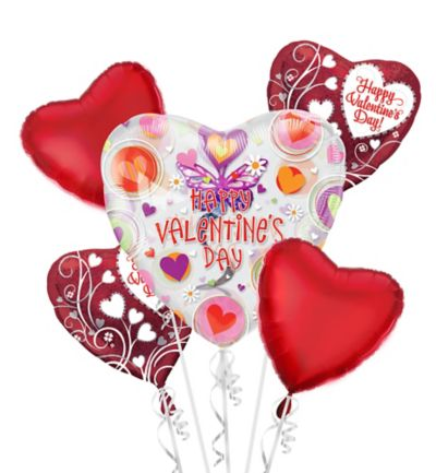 Foil Butterfly Swirl Insider Dangler Valentines Day Balloon Bouquet 5pc