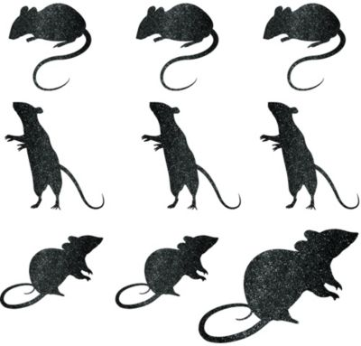 Glitter Mouse Cutouts 9ct