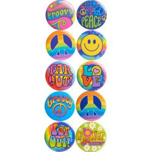 Tie-Dye 60s Buttons 10ct