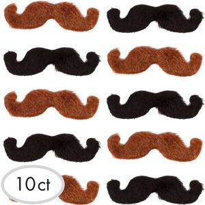 Black & Brown Western Moustaches 10ct