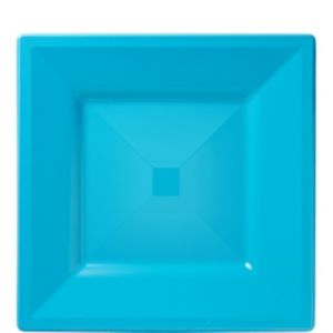 Caribbean Blue Premium Plastic Square Lunch Plates 10ct