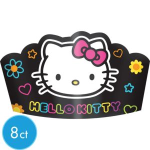 Neon Hello Kitty Tiaras 8ct