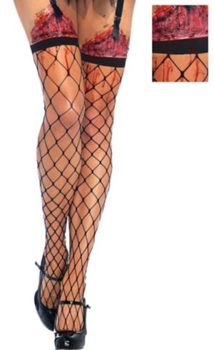 Adult Fence Net Bleeding Wound Thigh High Stockings