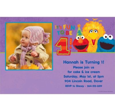 Custom Sesame 1st Birthday Photo Invitations