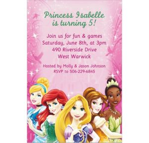 Custom Disney Princess Sparkle Invitations
