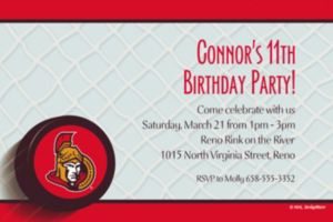 Custom Ottawa Senators Invitations