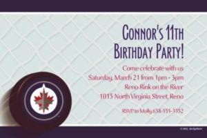Custom Winnipeg Jets Invitations