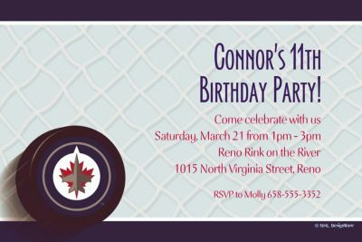 Winnipeg Jets Custom Invitation