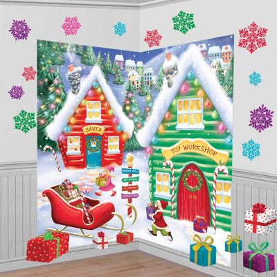 santa 39 s workshop scene setter kit party city. Black Bedroom Furniture Sets. Home Design Ideas