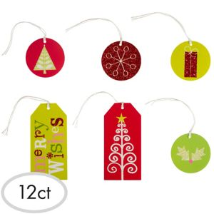 Glitter Holiday Gift Tags 12ct