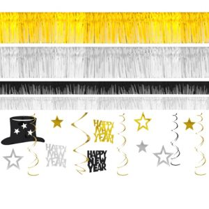 Black, Silver & Gold New Year's Room Decorating Kit 28pc