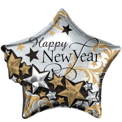 Black, Gold & Silver Happy New Year Balloon - Giant Star