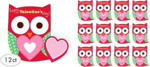 Owl Valentine Exchange Cards with Erasers 12ct